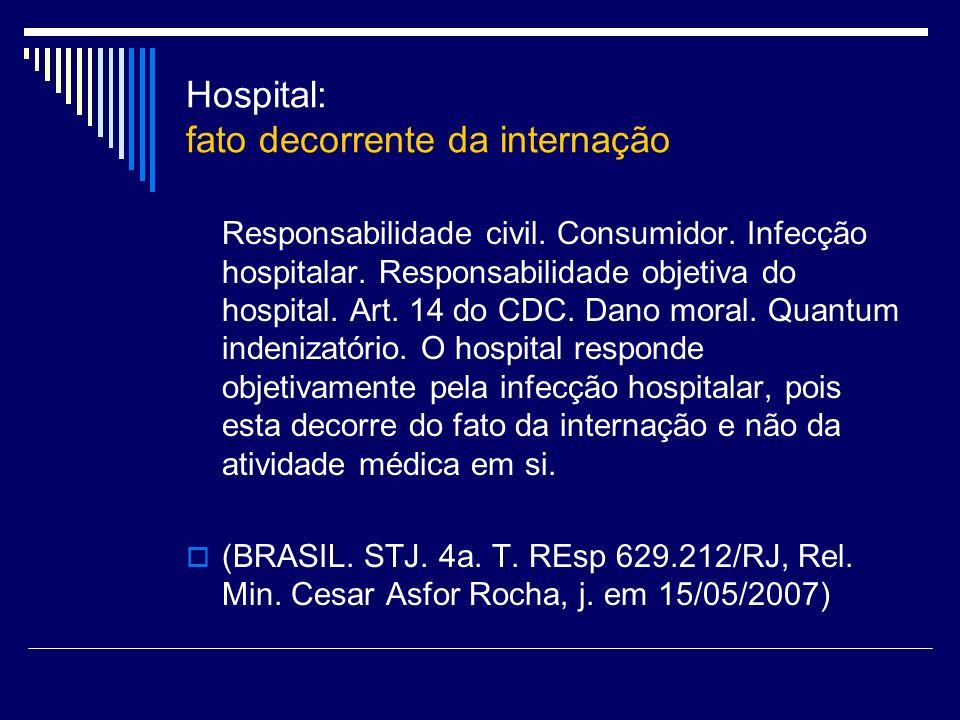 Hospital: fato decorrente da internação Responsabilidade civil. Consumidor. Infecção hospitalar. Responsabilidade objetiva do hospital. Art. 14 do CDC
