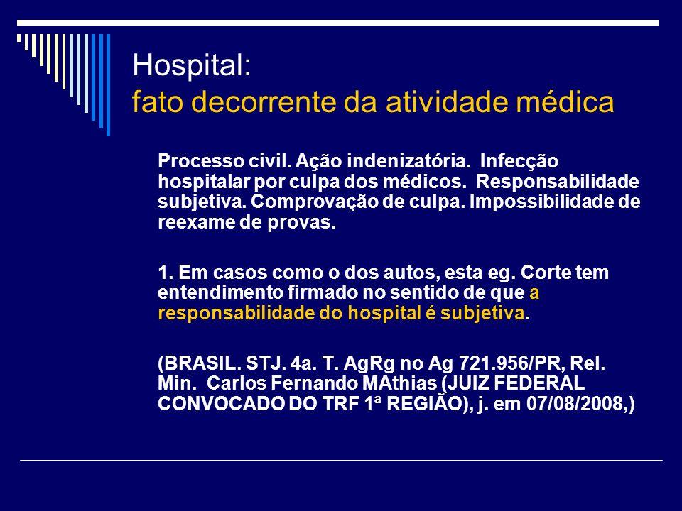 Hospital: fato decorrente da atividade médica Processo civil. Ação indenizatória. Infecção hospitalar por culpa dos médicos. Responsabilidade subjetiv
