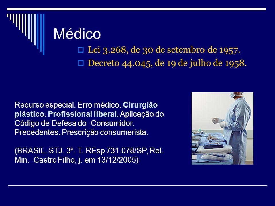 Médico Lei 3.268, de 30 de setembro de 1957. Decreto 44.045, de 19 de julho de 1958. Recurso especial. Erro médico. Cirurgião plástico. Profissional l