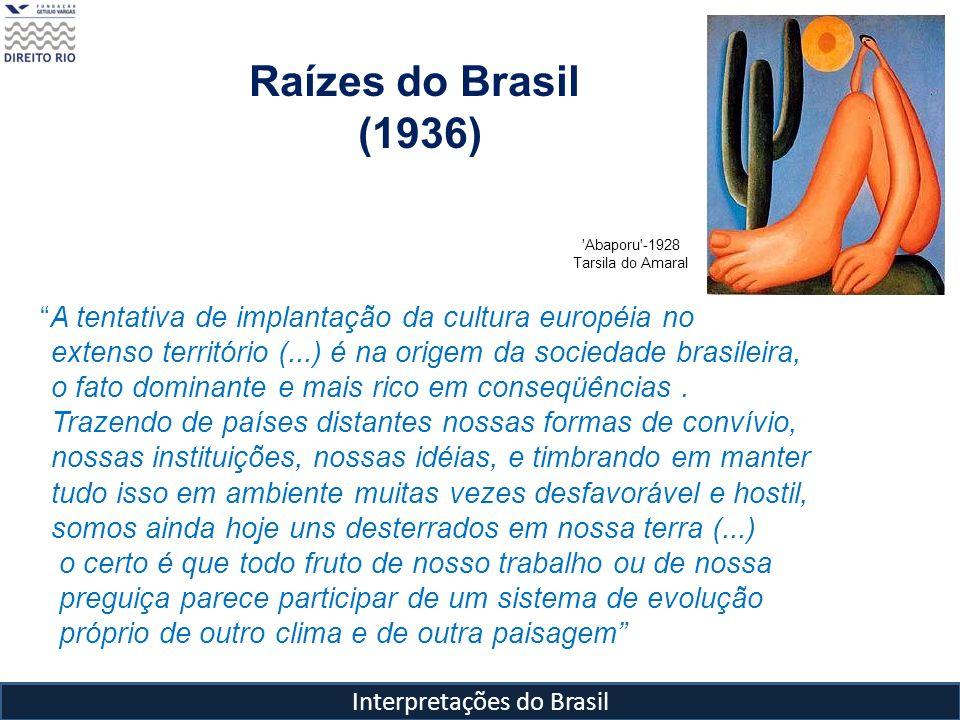 Interpretações do Brasil A tentativa de implantação da cultura européia no extenso território (...) é na origem da sociedade brasileira, o fato domina
