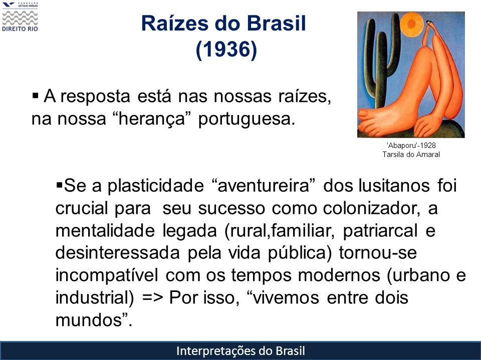 Interpretações do Brasil Raízes do Brasil (1936) 'Abaporu'-1928 Tarsila do Amaral A resposta está nas nossas raízes, na nossa herança portuguesa. Se a