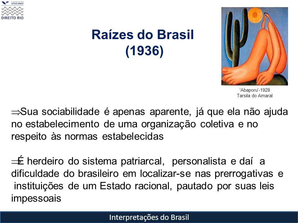 Interpretações do Brasil Raízes do Brasil (1936) 'Abaporu'-1928 Tarsila do Amaral Sua sociabilidade é apenas aparente, já que ela não ajuda no estabel