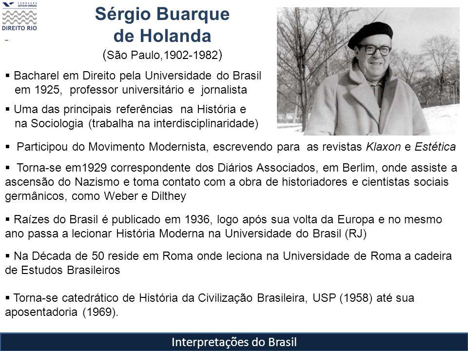 Interpretações do Brasil Sérgio Buarque de Holanda ( São Paulo,1902-1982 ) Bacharel em Direito pela Universidade do Brasil em 1925, professor universi