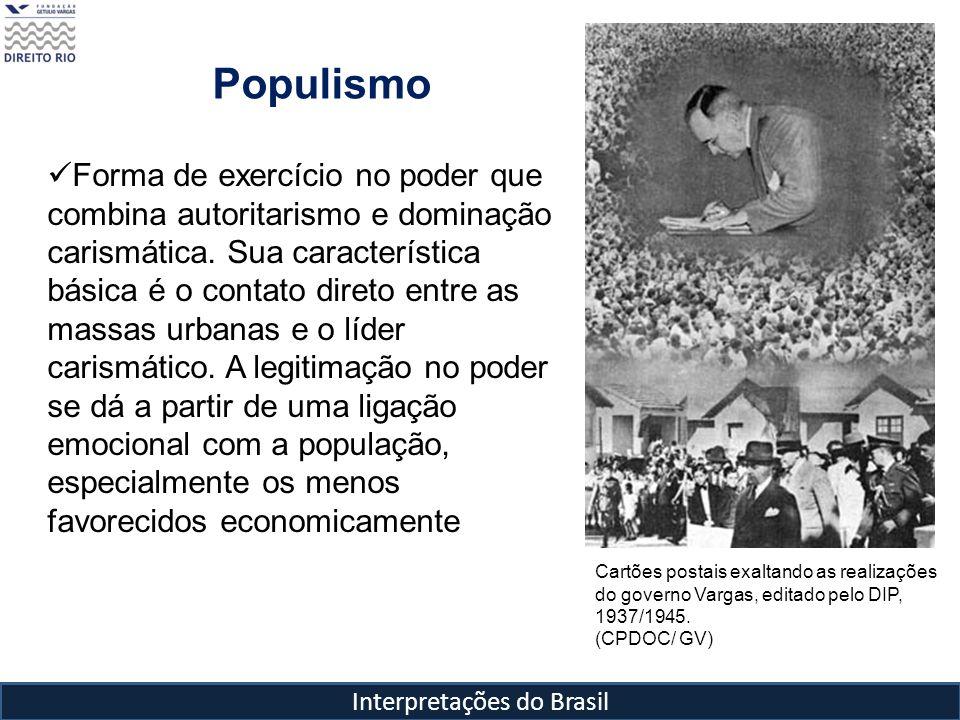 Interpretações do Brasil Populismo Cartões postais exaltando as realizações do governo Vargas, editado pelo DIP, 1937/1945. (CPDOC/ GV) Forma de exerc
