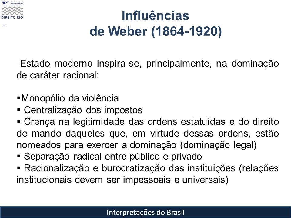 Interpretações do Brasil Influências de Weber (1864-1920) -Estado moderno inspira-se, principalmente, na dominação de caráter racional: Monopólio da v