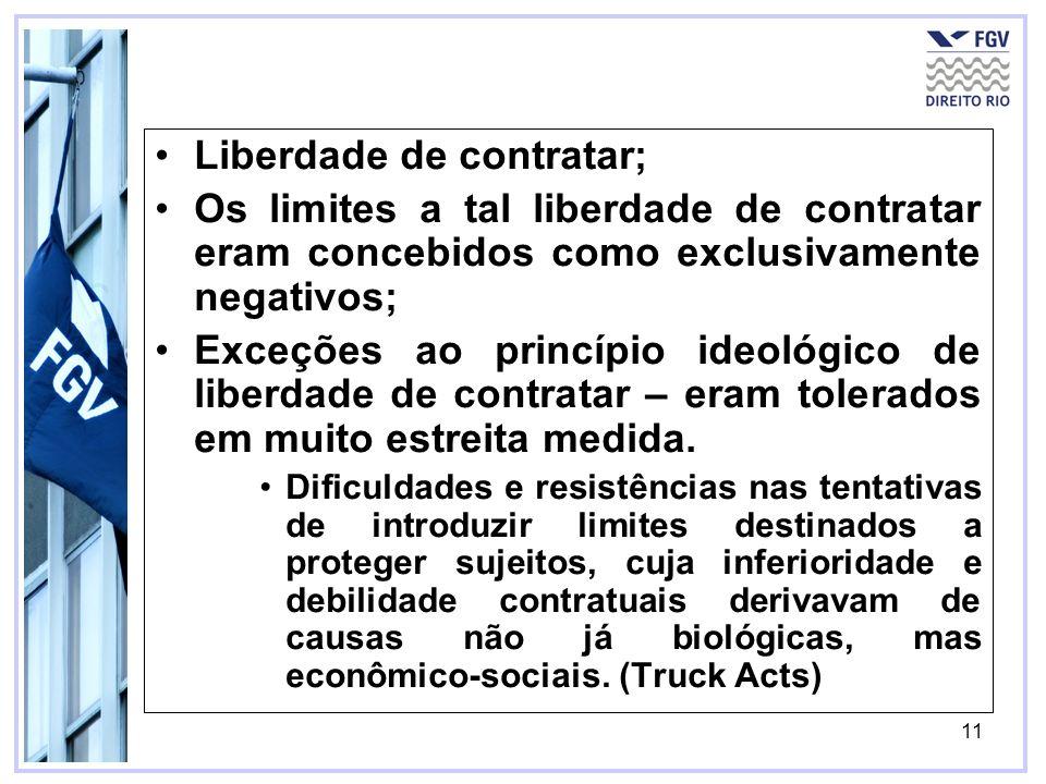 11 Liberdade de contratar; Os limites a tal liberdade de contratar eram concebidos como exclusivamente negativos; Exceções ao princípio ideológico de