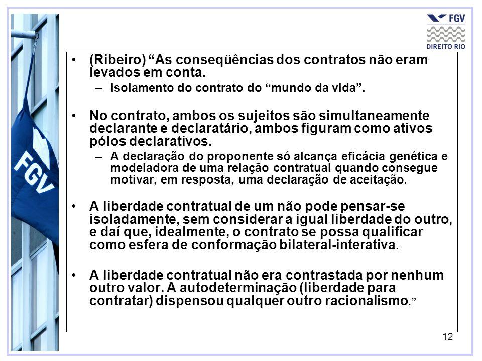 12 (Ribeiro) As conseqüências dos contratos não eram levados em conta. –Isolamento do contrato do mundo da vida. No contrato, ambos os sujeitos são si