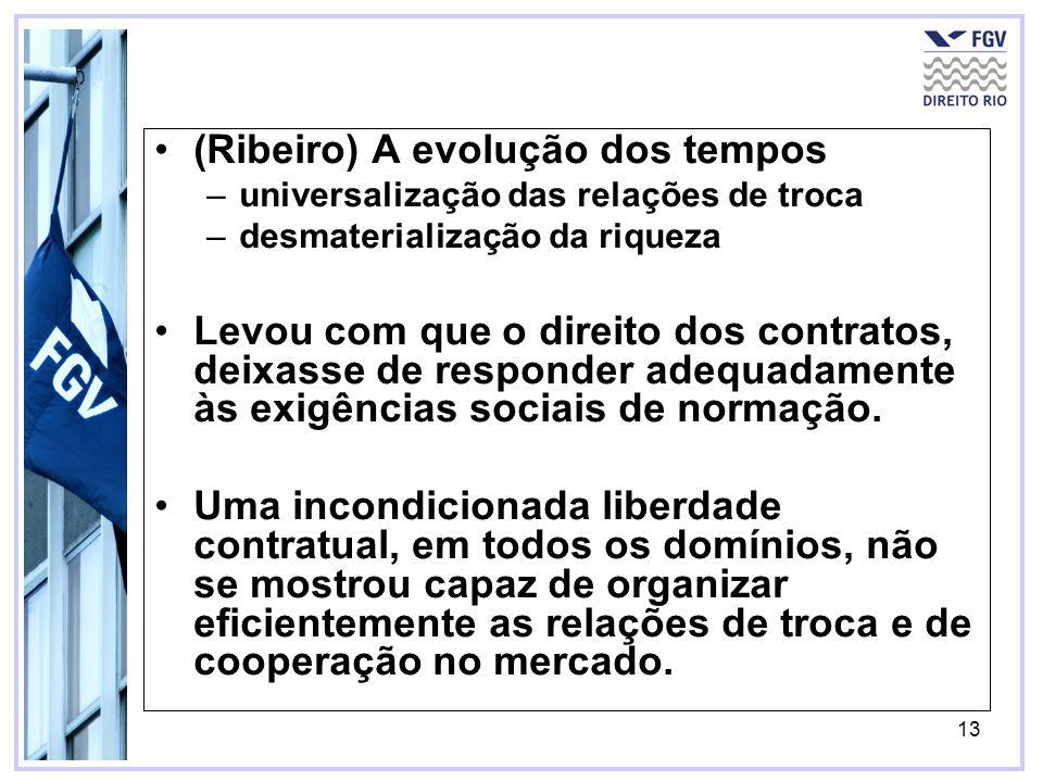 13 (Ribeiro) A evolução dos tempos –universalização das relações de troca –desmaterialização da riqueza Levou com que o direito dos contratos, deixass