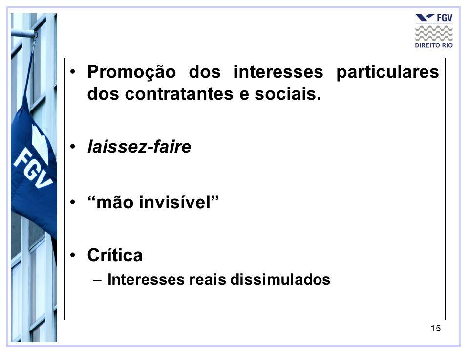15 Promoção dos interesses particulares dos contratantes e sociais. laissez-faire mão invisível Crítica –Interesses reais dissimulados