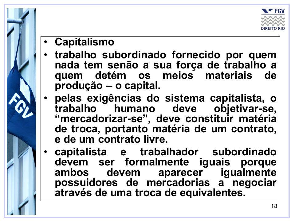 18 Capitalismo trabalho subordinado fornecido por quem nada tem senão a sua força de trabalho a quem detém os meios materiais de produção – o capital.