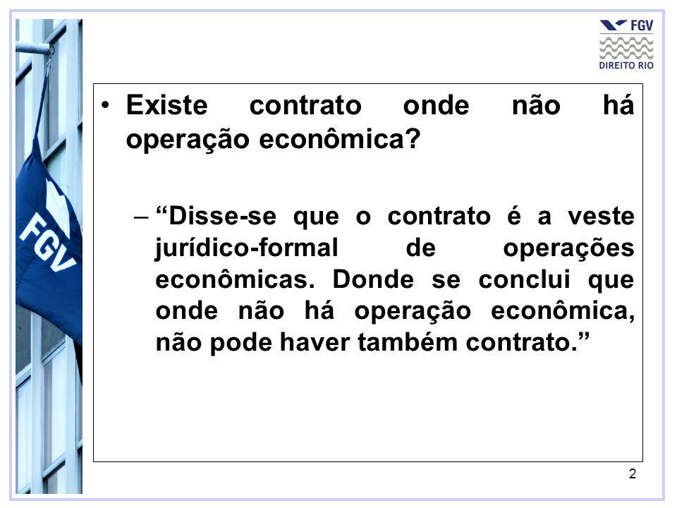 2 Existe contrato onde não há operação econômica? –Disse-se que o contrato é a veste jurídico-formal de operações econômicas. Donde se conclui que ond