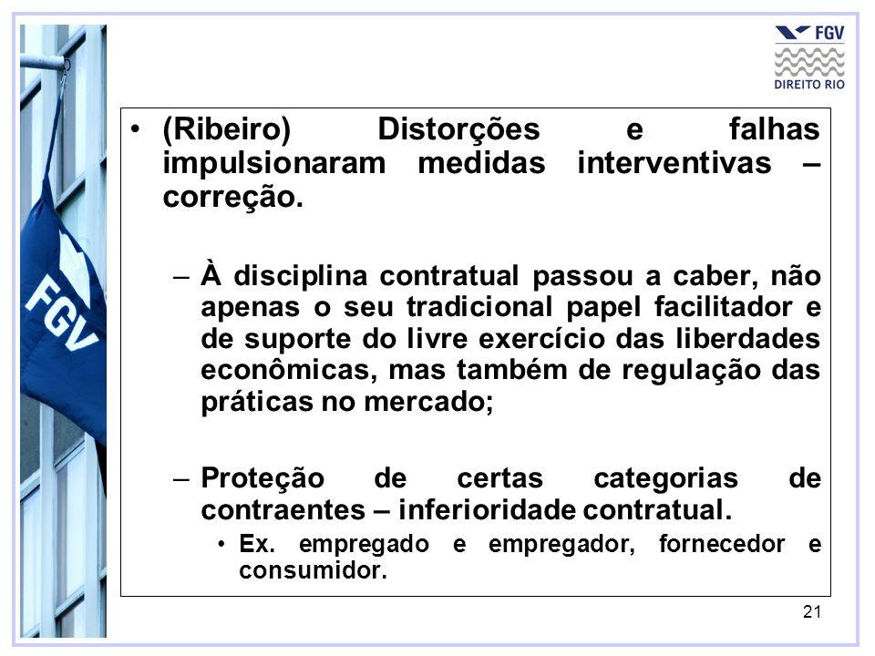 21 (Ribeiro) Distorções e falhas impulsionaram medidas interventivas – correção. –À disciplina contratual passou a caber, não apenas o seu tradicional