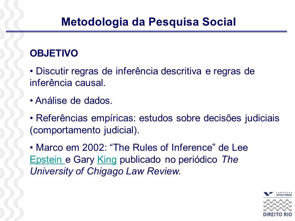 Metodologia da Pesquisa Social OBJETIVO Discutir regras de inferência descritiva e regras de inferência causal. Análise de dados. Referências empírica