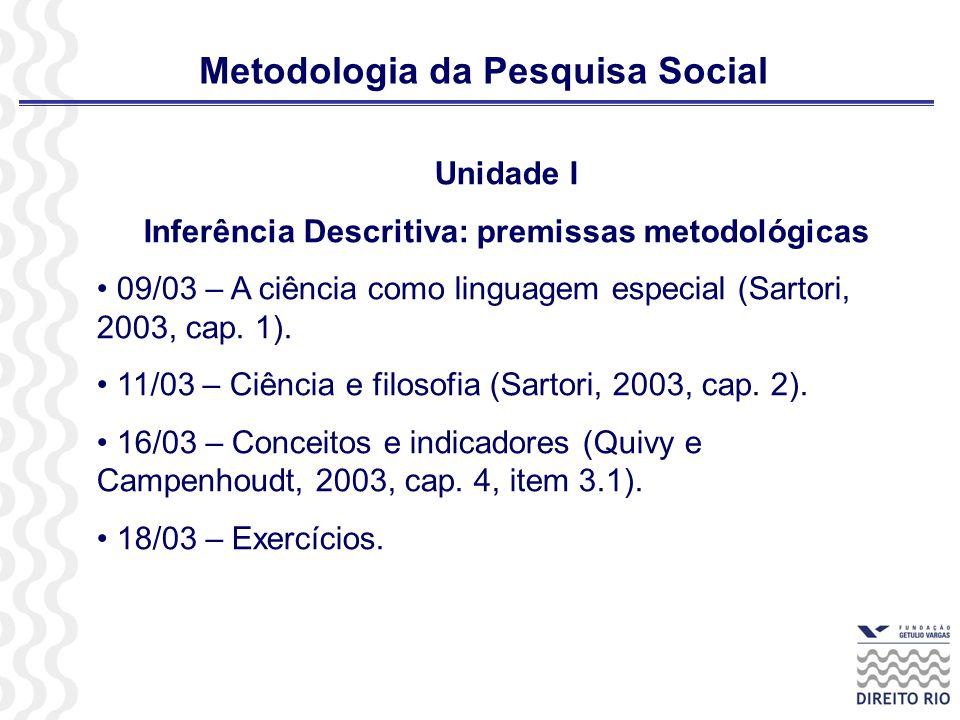 Metodologia da Pesquisa Social Unidade II – Inferência Descritiva: estatística elementar 23/03 e 25/03 – Organização das informações.