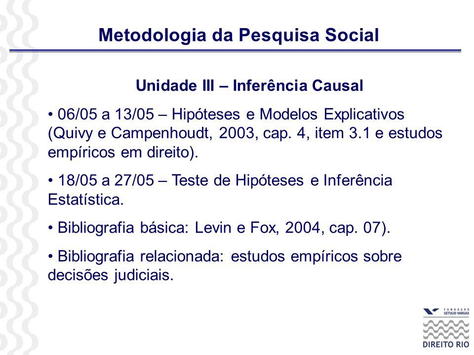 Metodologia da Pesquisa Social Unidade III – Inferência Causal 06/05 a 13/05 – Hipóteses e Modelos Explicativos (Quivy e Campenhoudt, 2003, cap. 4, it