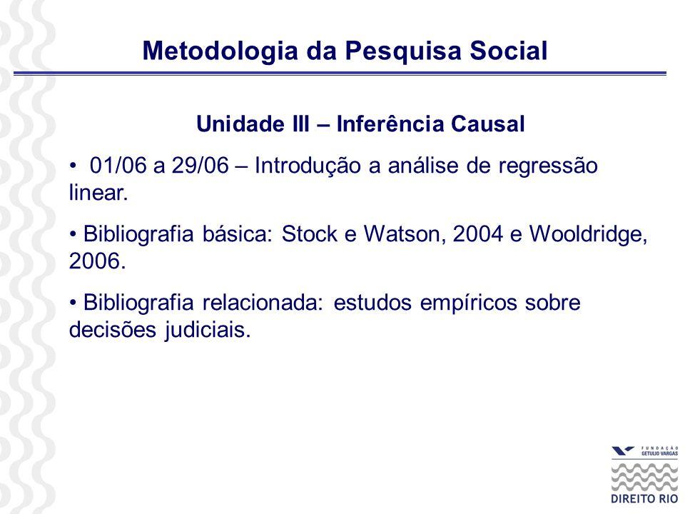Metodologia da Pesquisa Social Unidade III – Inferência Causal 01/06 a 29/06 – Introdução a análise de regressão linear. Bibliografia básica: Stock e
