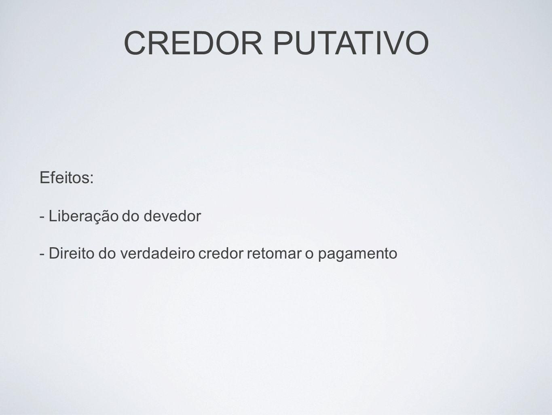 CREDOR PUTATIVO Efeitos: - Liberação do devedor - Direito do verdadeiro credor retomar o pagamento