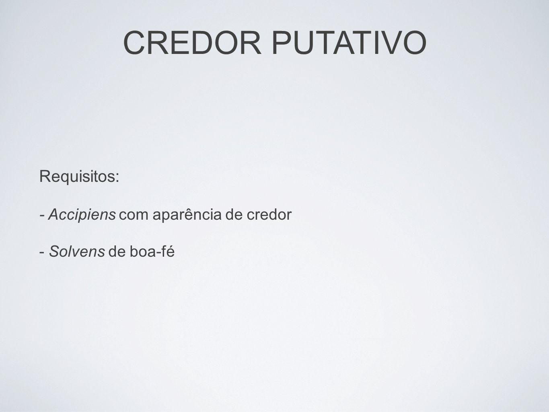 CREDOR PUTATIVO Requisitos: - Accipiens com aparência de credor - Solvens de boa-fé