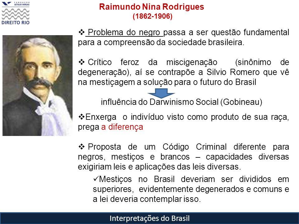 Interpretações do Brasil Raimundo Nina Rodrigues (1862-1906) Problema do negro passa a ser questão fundamental para a compreensão da sociedade brasile