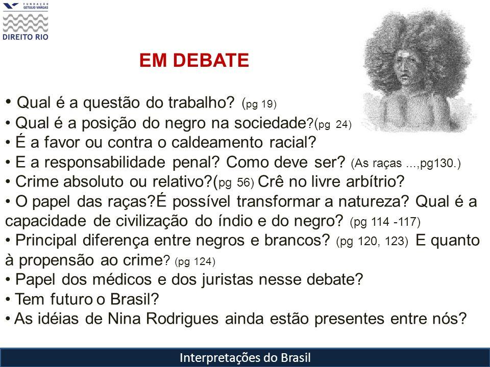 Interpretações do Brasil Raimundo Nina Rodrigues (1862-1906) Problema do negro passa a ser questão fundamental para a compreensão da sociedade brasileira.