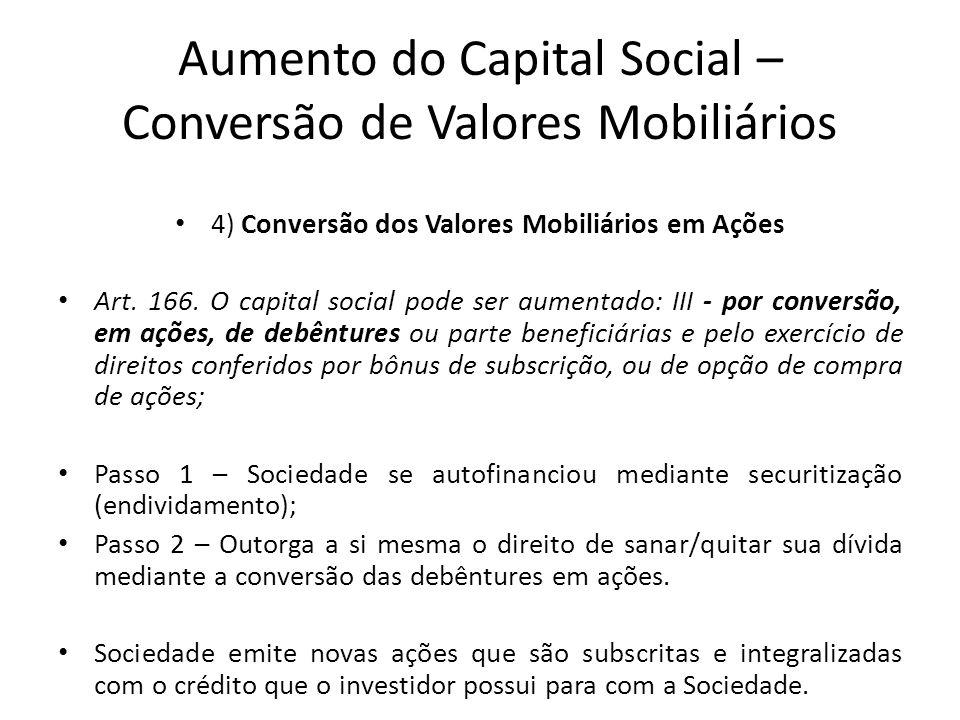 Aumento do Capital Social – Conversão de Valores Mobiliários 4) Conversão dos Valores Mobiliários em Ações Art. 166. O capital social pode ser aumenta