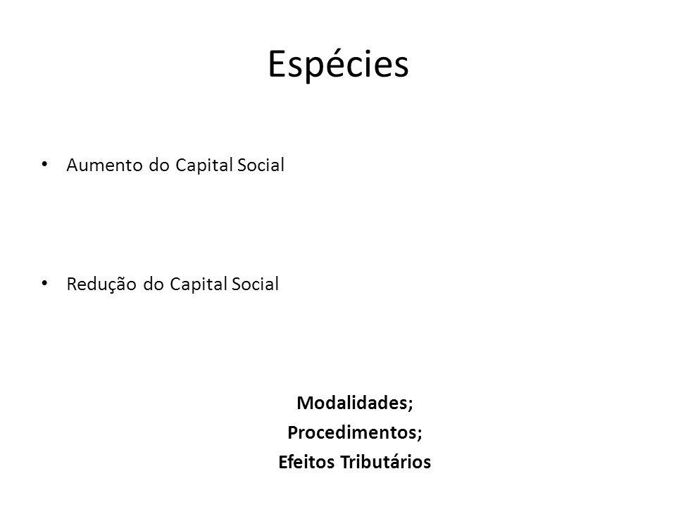 Espécies Aumento do Capital Social Redução do Capital Social Modalidades; Procedimentos; Efeitos Tributários