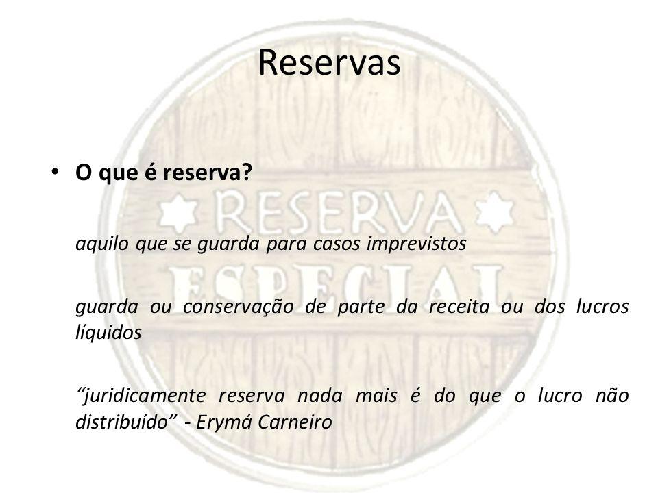 Reservas O que é reserva? aquilo que se guarda para casos imprevistos guarda ou conservação de parte da receita ou dos lucros líquidos juridicamente r