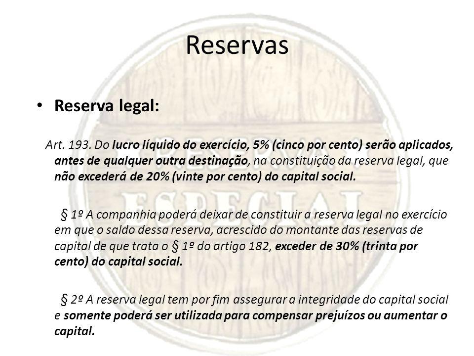 Reservas Reserva legal: Art. 193. Do lucro líquido do exercício, 5% (cinco por cento) serão aplicados, antes de qualquer outra destinação, na constitu
