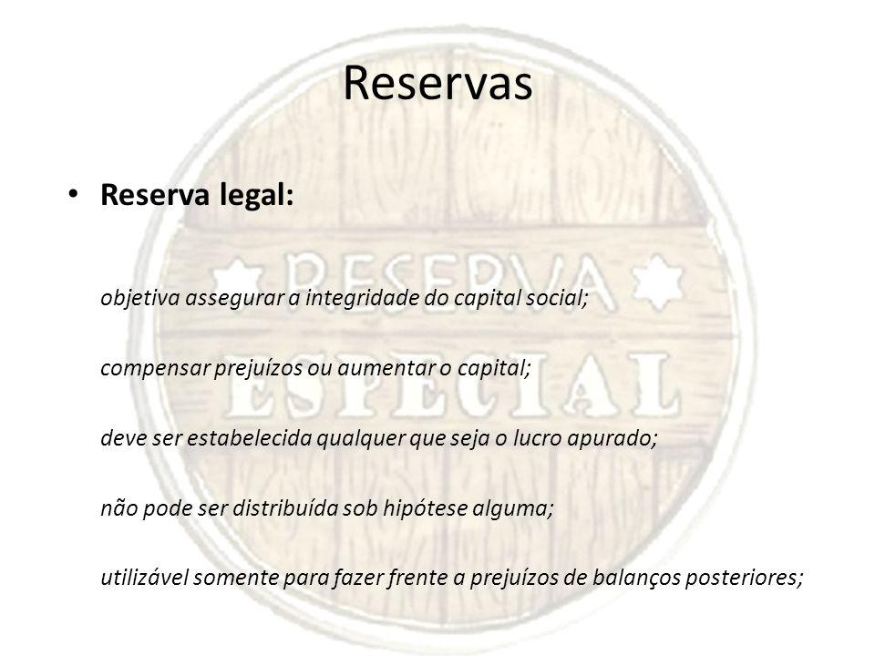 Reservas Reserva legal: objetiva assegurar a integridade do capital social; compensar prejuízos ou aumentar o capital; deve ser estabelecida qualquer