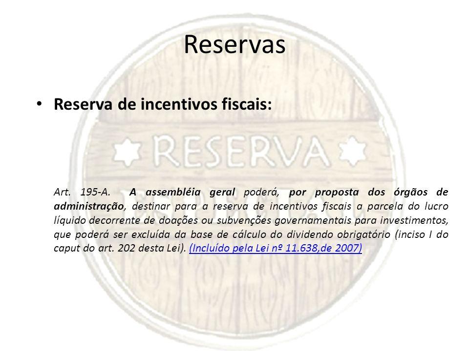 Reservas Reserva de incentivos fiscais: Art. 195-A. A assembléia geral poderá, por proposta dos órgãos de administração, destinar para a reserva de in