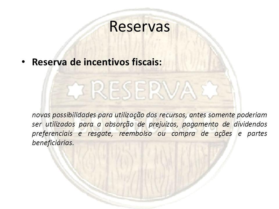 Reservas Reserva de incentivos fiscais: novas possibilidades para utilização dos recursos, antes somente poderiam ser utilizados para a absorção de pr