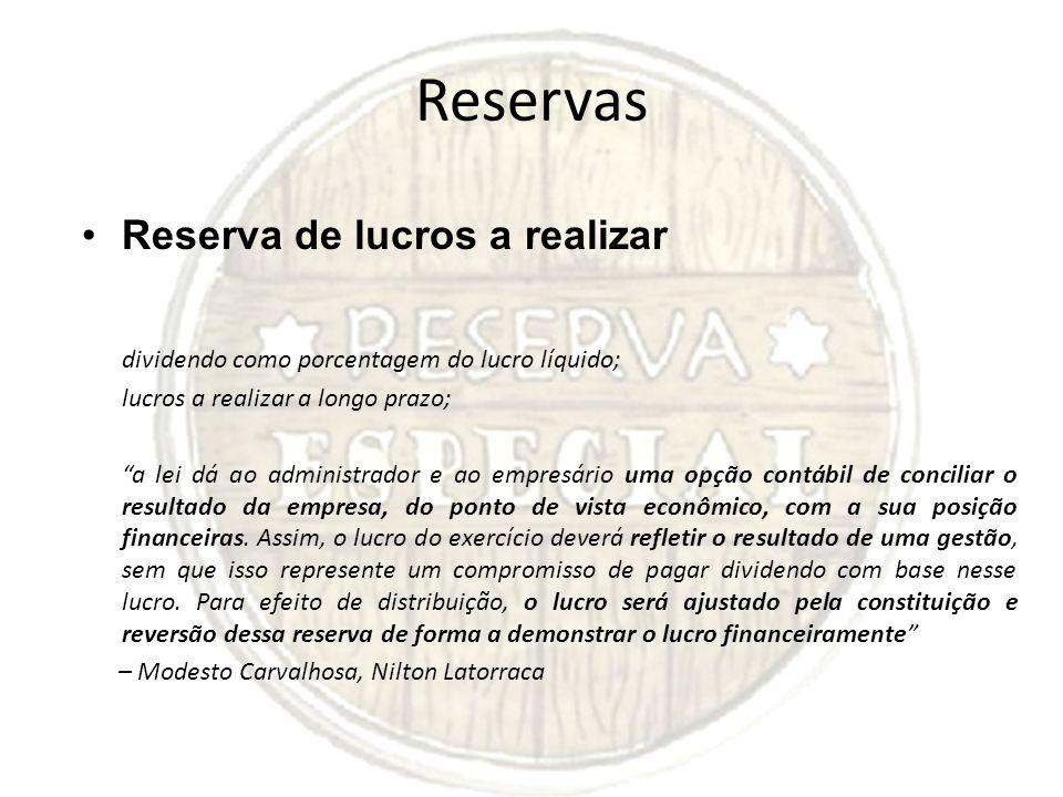 Reservas Reserva de lucros a realizar dividendo como porcentagem do lucro líquido; lucros a realizar a longo prazo; a lei dá ao administrador e ao emp