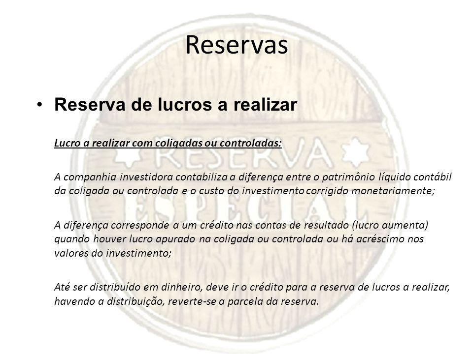Reservas Reserva de lucros a realizar Lucro a realizar com coligadas ou controladas: A companhia investidora contabiliza a diferença entre o patrimôni