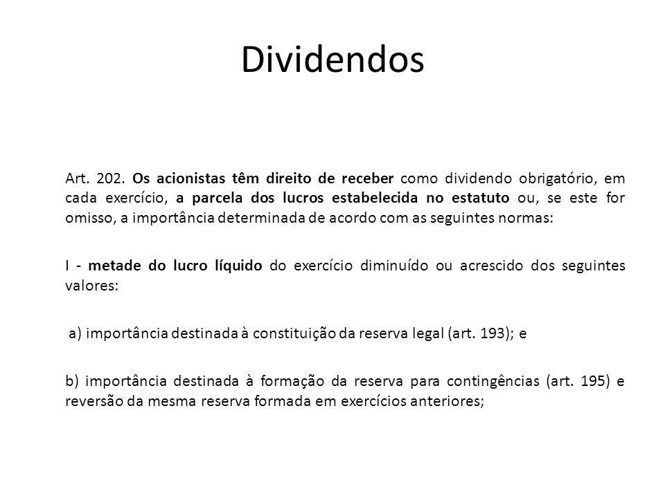 Dividendos Art. 202. Os acionistas têm direito de receber como dividendo obrigatório, em cada exercício, a parcela dos lucros estabelecida no estatuto