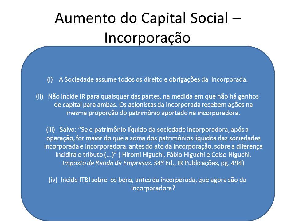 Aumento do Capital Social – Incorporação SOCIEDADE A Capital Social = 150.000 Ações ON Patrimônio Líquido (PL) = R$ 150.000 CDEF G Emite ações proporc