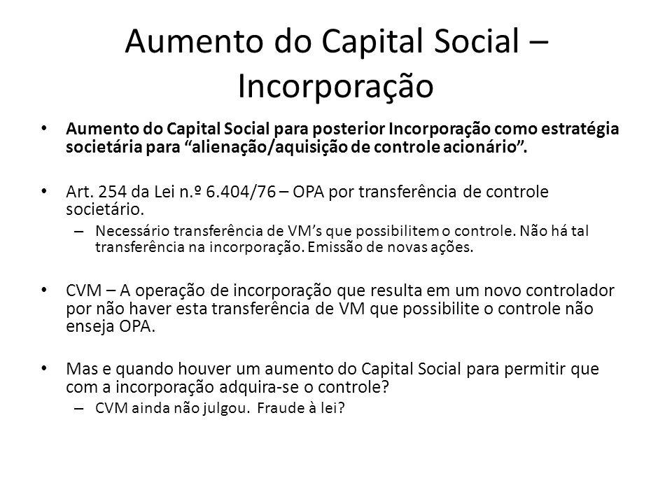 Aumento do Capital Social – Incorporação Aumento do Capital Social para posterior Incorporação como estratégia societária para alienação/aquisição de
