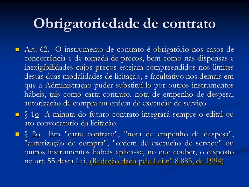 Obrigatoriedade de contrato Art. 62. O instrumento de contrato é obrigatório nos casos de concorrência e de tomada de preços, bem como nas dispensas e