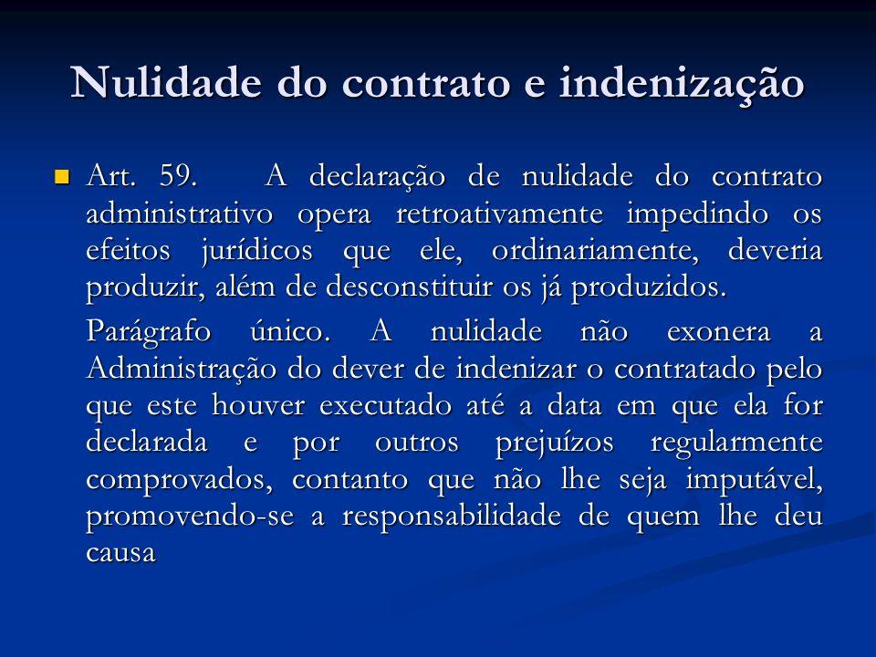 Nulidade do contrato e indenização Art. 59. A declaração de nulidade do contrato administrativo opera retroativamente impedindo os efeitos jurídicos q