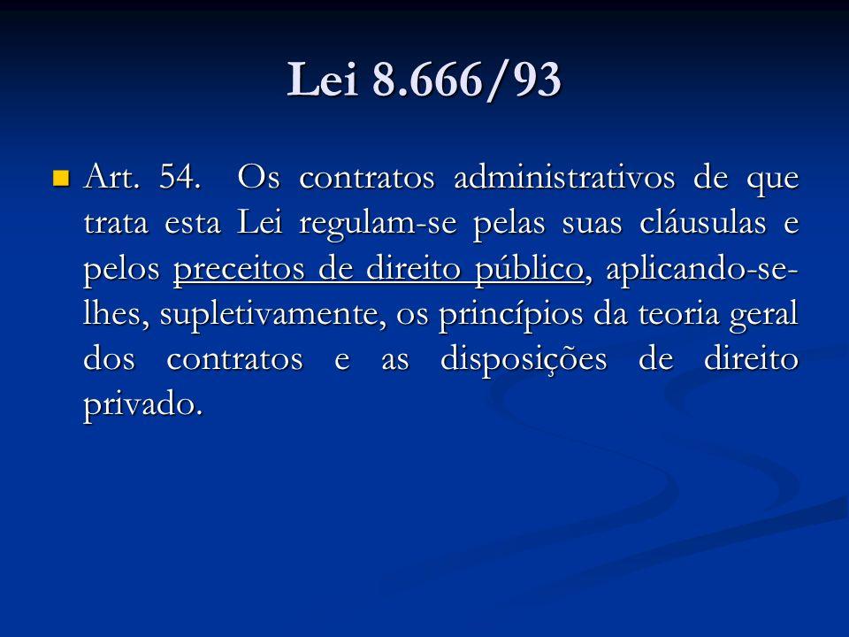 Lei 8.666/93 Art. 54. Os contratos administrativos de que trata esta Lei regulam-se pelas suas cláusulas e pelos preceitos de direito público, aplican