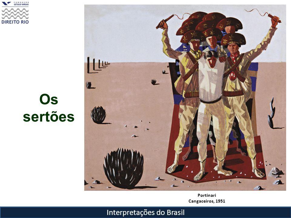 Interpretações do Brasil Os Sertões marco no país, aclamado pela intelectualidade e sucesso editorial – 3 edições entre 1902 e 1909 Obra influenciada pelo positivismo de Taine, que propunha a trilogia – meio, raça e circunstâncias – na interpretação dos fatos históricos Imerso nas teorias científico-racialistas da época, se vale de argumentos de Nina Rodrigues sobre a inferioridade do mestiço Mas não vê a mestiçagem apenas como negativa ou como fator determinante para o atraso ( o isolamento do sertanejo é a causa da clivagem entre litoral e sertão): o sertanejo era um retrógado, não um degenerado por isso era ambiguamente um forte e um fraco (Hércules-Quasímodo) Canudos é explicada como resultado do choque entre dois processos de mestiçagem: a litorânea e a sertaneja O mestiço do sertão era superior ao mestiço raquítico e neurastênico do litoral