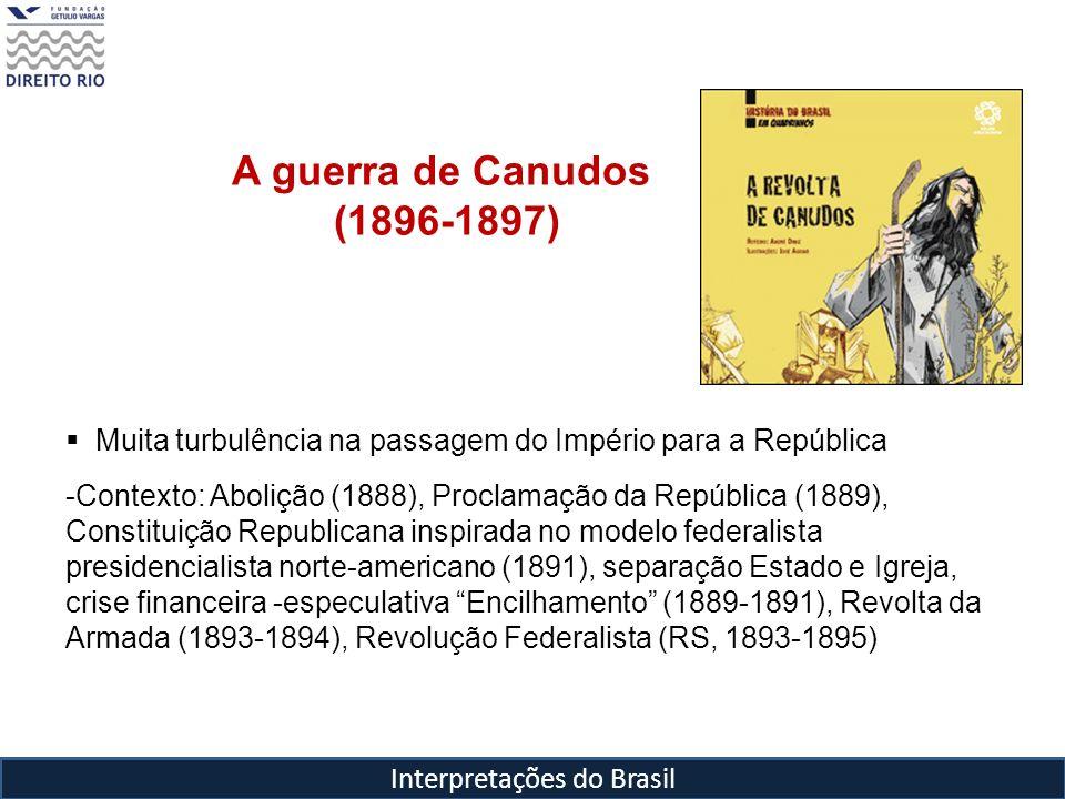Interpretações do Brasil Euclides da Cunha ( 1866, Cantagalo,RJ- 1909,RJ) Engenheiro, professor, jornalista Em 1884, matriculou-se na Escola Politécnica e dois anos depois assenta praça na Escola Militar Em 1888, foi desligado do Exército por um ato de indisciplina, sendo a ele reintegrado quando da Proclamação da República Em 1890, conclui o curso da Escola Superior de Guerra como primeiro-tenente e vai trabalhar como engenheiro na Estrada de Ferro Central do Brasil em SP Em 1896 deixa o Exército, por divergir de Floriano Peixoto e vai trabalhar na Superintendência de Obras Públicas do Estado de SP, como engenheiro civil Em 1897 cobre jornalisticamente a Campanha de Canudos para o jornal O Estado de São Paulo Publica Os Sertões em 1902 e em 1903 é eleito para Academia Brasileira de Letras (ocupa cadeira de Valentim Magalhães) Entre 1904-1906 chefia a missão diplomática na Amazônia para resolver as questões de fronteira entre o recém incorporado Acre e o Peru