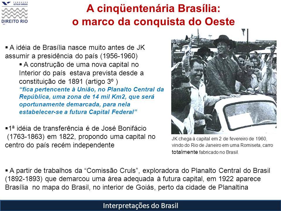 Interpretações do Brasil JK chega à capital em 2 de fevereiro de 1960, vindo do Rio de Janeiro em uma Romiseta, carro totalmente fabricado no Brasil.