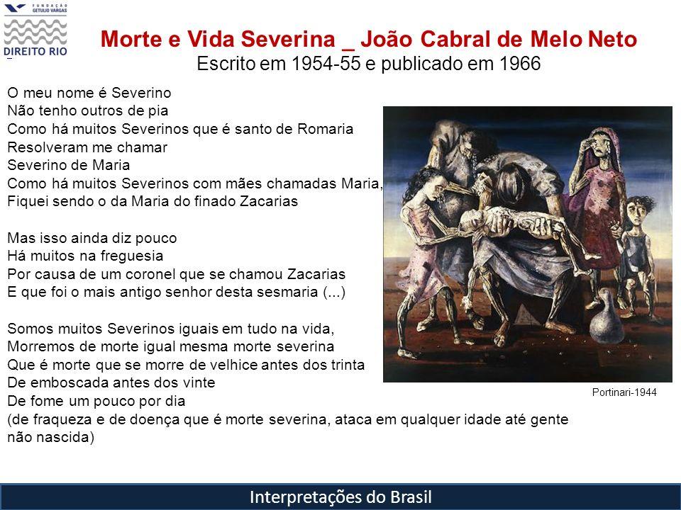 Interpretações do Brasil Morte e Vida Severina _ João Cabral de Melo Neto Escrito em 1954-55 e publicado em 1966 O meu nome é Severino Não tenho outro