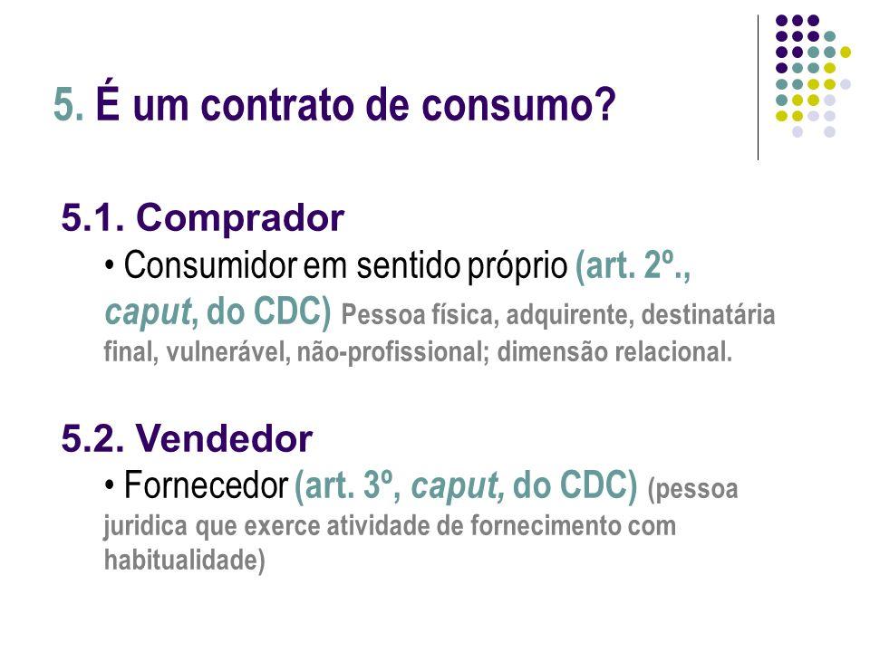 5. É um contrato de consumo? 5.1. Comprador Consumidor em sentido próprio (art. 2º., caput, do CDC) Pessoa física, adquirente, destinatária final, vul