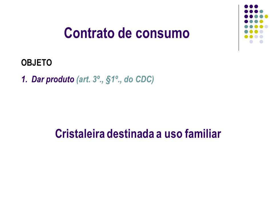 Contrato de consumo OBJETO 1.Dar produto (art. 3º., §1º., do CDC) Cristaleira destinada a uso familiar