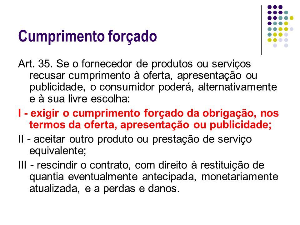 Cumprimento forçado Art. 35. Se o fornecedor de produtos ou serviços recusar cumprimento à oferta, apresentação ou publicidade, o consumidor poderá, a