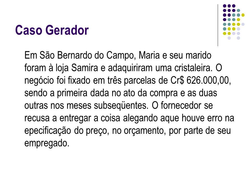 Caso Gerador Em São Bernardo do Campo, Maria e seu marido foram à loja Samira e adaquiriram uma cristaleira. O negócio foi fixado em três parcelas de
