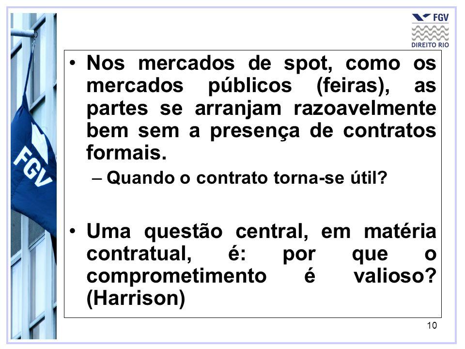 10 Nos mercados de spot, como os mercados públicos (feiras), as partes se arranjam razoavelmente bem sem a presença de contratos formais.