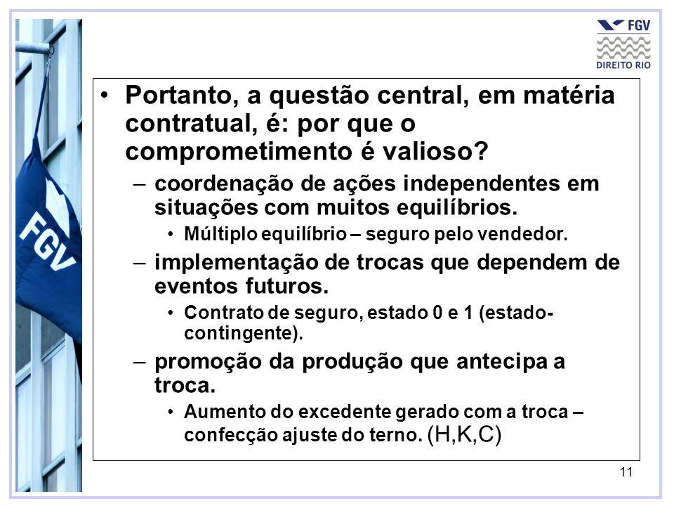 11 Portanto, a questão central, em matéria contratual, é: por que o comprometimento é valioso.