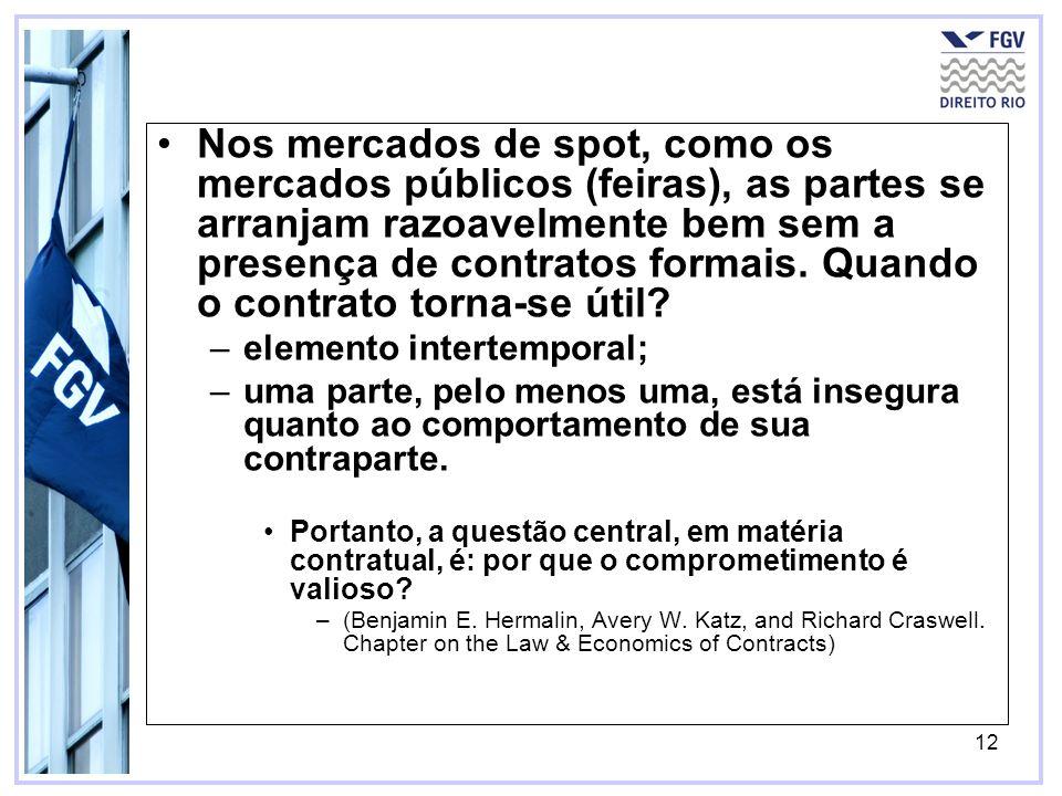 12 Nos mercados de spot, como os mercados públicos (feiras), as partes se arranjam razoavelmente bem sem a presença de contratos formais.